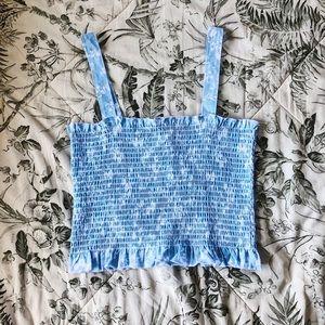 Light blue floral smocked square neck crop top